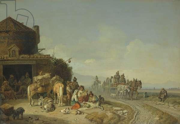 Travellers Before a Roadside Inn (oil on canvas)