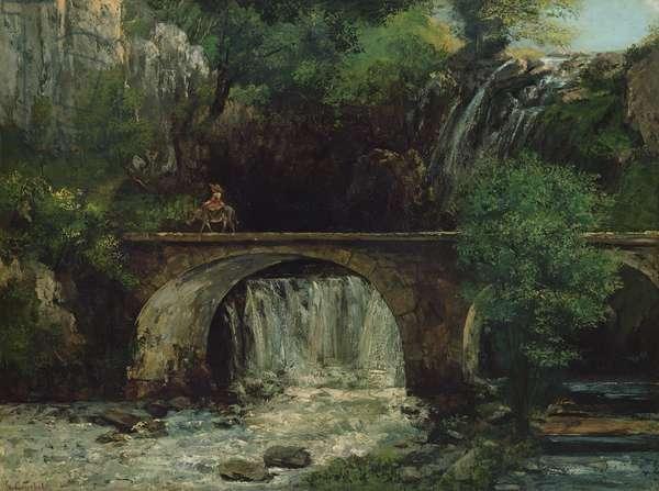 Landscape with bridge (oil on canvas)