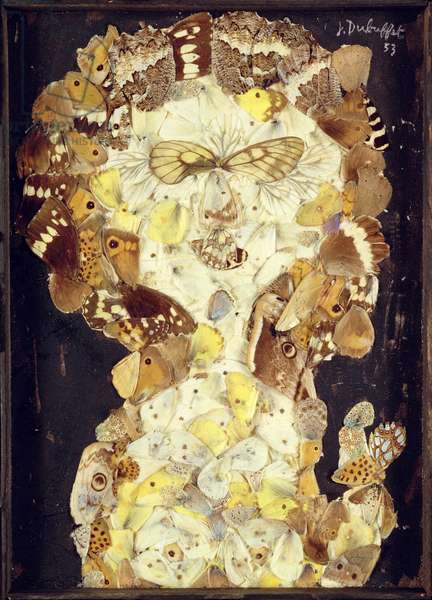Beauty with a masked gaze, 1953 (collage with butterfly wings)