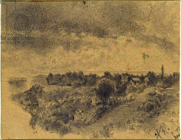Untitled (Berne, view onto the Rosengarten) 1897 (pencil and brush on paper)