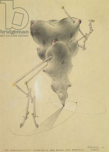 The Full Secret of Diana from Ephesus. (Object), 1938 (pencil, watercolour and opaque white on mounted card)