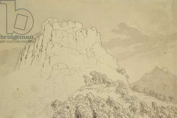Rocky Hilltop with a Wooded Hill in front (pencil, pen and w/c wash on paper)