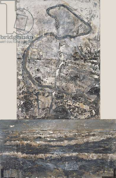 The Brazen Snake, 1982-5 (woodcut fragments over oil, acrylic, emulsion, shellac on canvas)