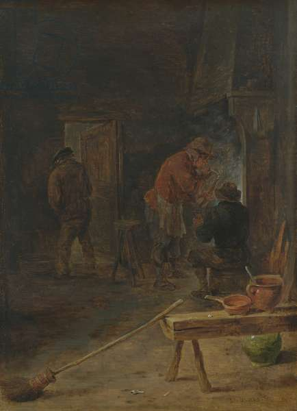 Farmers around a Fireplace (oil on canvas)