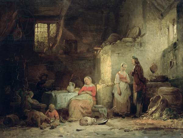 Conversation after the Meal, 1840 (oil on panel)