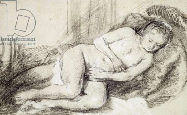 Reclining Female Nude (black chalk and bodycolour on paper)