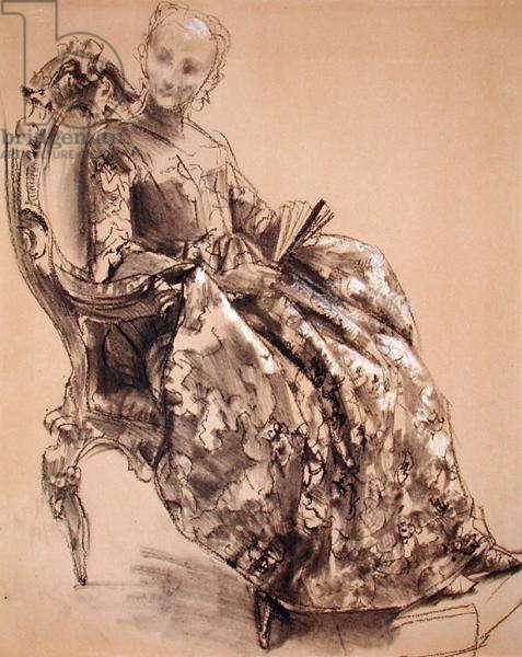 A Study of Princess Amalie of Prussia (chalk on paper)