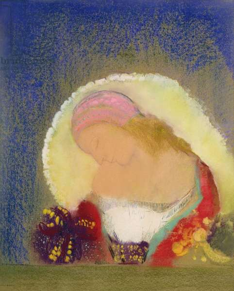 Profile of a Girl with Flowers, c.1900 (pastel on paper)