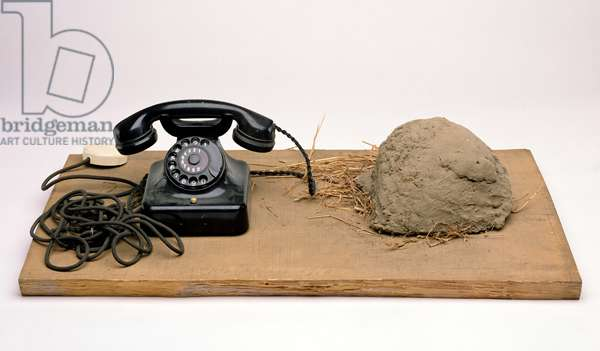 Earth Telephone, 1968 (telephone, earth & grass, connecting cable on wooden board)