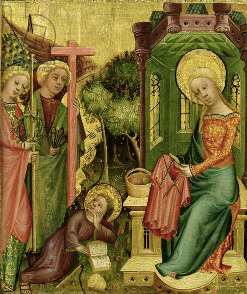 Visit of the Angel, from the right wing of the Buxtehude Altar, 1400-10 (tempera on panel)
