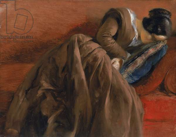 Emilie, the Artist's Sister, Asleep, c.1848 (oil on paper mounted on canvas)