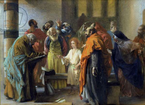 Twelve-year old Jesus in the Temple, 1851 (pastel and gouache on paper)