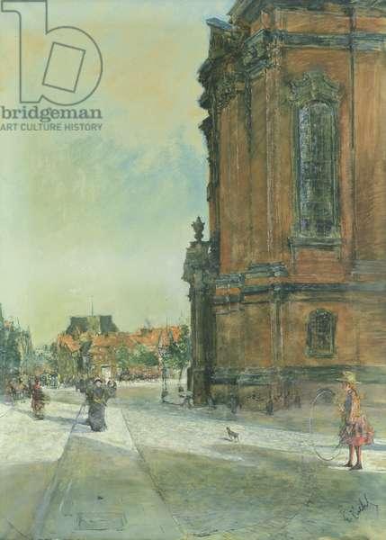 Street Scene near St. Michael's Church in Hamburg (pastel on paper)