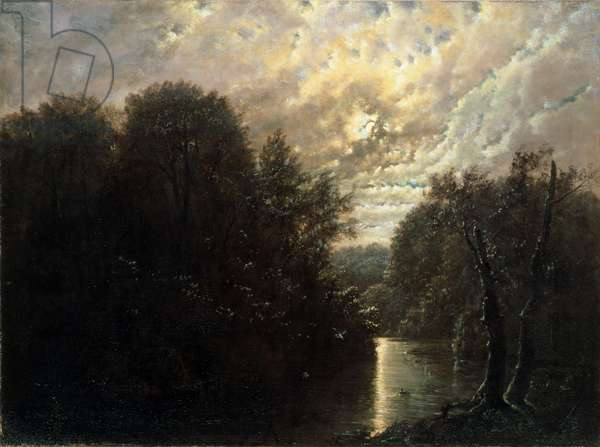 River Landscape in the Rosental near Leipzig (oil on canvas)