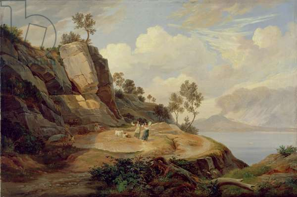 Landscape in Italy (oil on canvas)
