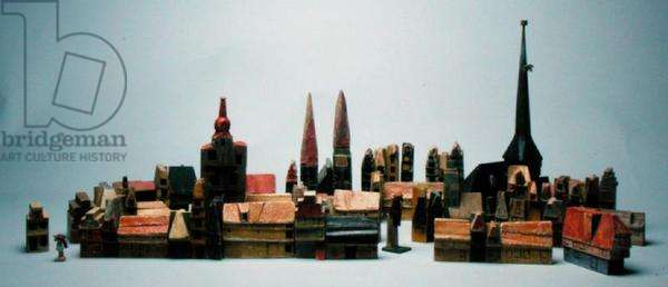 A scene from the series 'The Town at the End of the World' (painted wood)