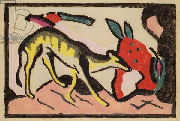 Faultier, 1912 (woodcut)