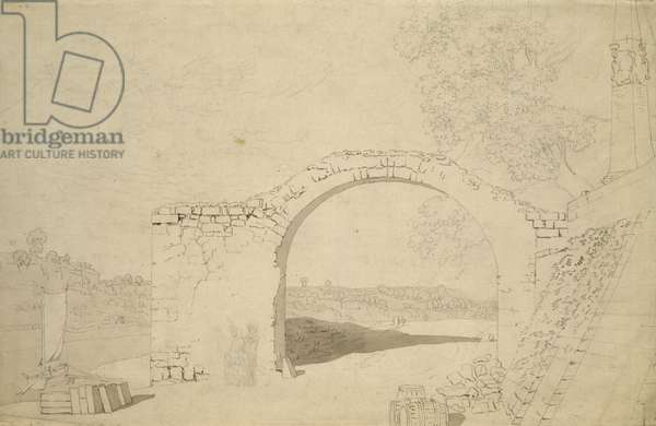 River Landscape with an Arch (unfinished) (pencil, pen and w/c on paper)