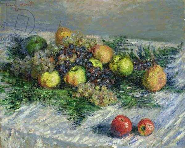 Still Life with Pears and Grapes, 1880 (oil on canvas)