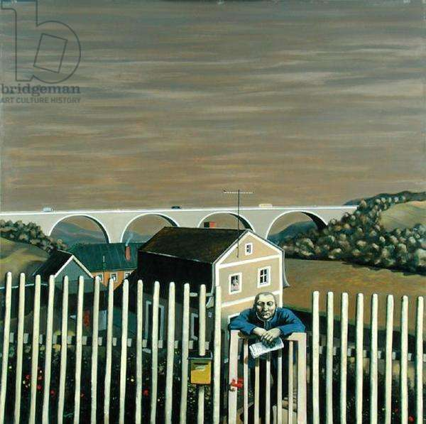 Old Compatriot at the Fence (oil on canvas)