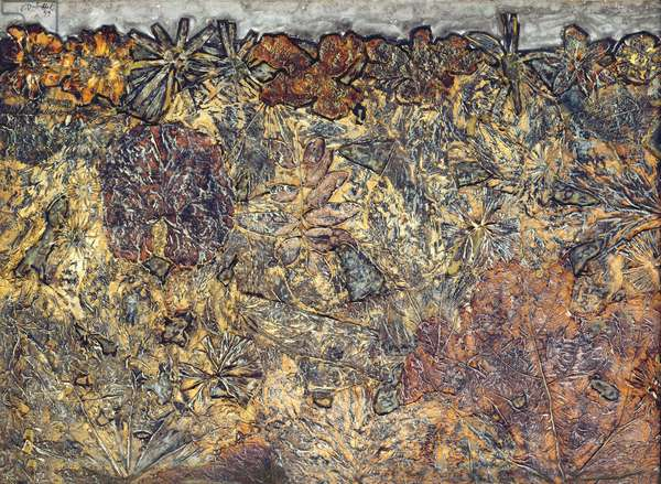 Blossoming Earth (oil and collage from vegetation)