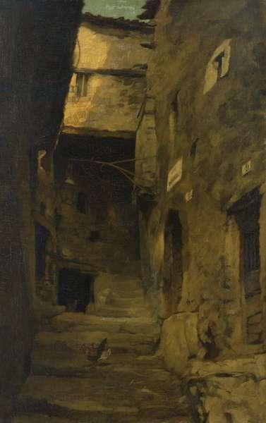 Street in Olevano (oil on canvas)