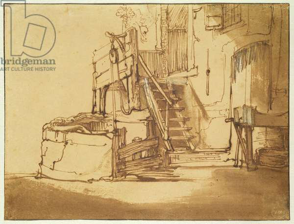 The well in front of the farmhouse (pen and brown ink and brown wash on paper)