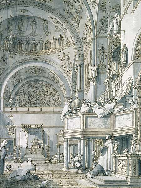 The Choir Singing in St. Mark's Basilica, Venice, 1766 (pen, ink and wash on paper)