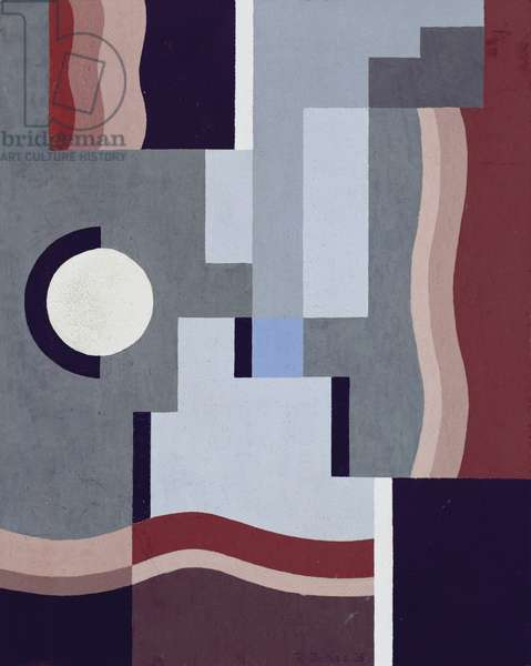 Composition with White Round Spot and Blue Section, 1925 (oil on canvas)
