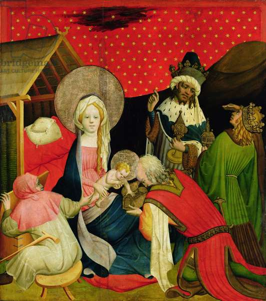 The Adoration of the Magi, panel from the St. Thomas Altar from St. John's Church, Hamburg, begun 1424 (tempera & oil on panel)