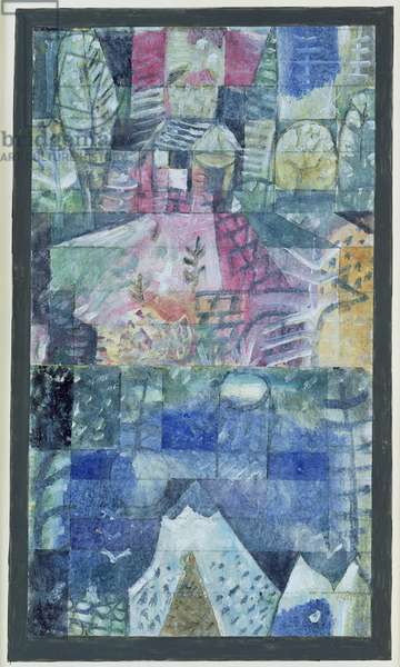 Souvenir picture of a trip, 1922 (no 27) (pen, oil and w/c on paper on cardboard)