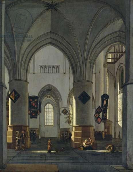 Interior View of St. Bavo Church, Harlem (oil on panel)