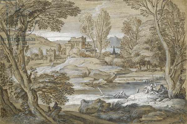 Classical landscape (pen and indian ink on paper)