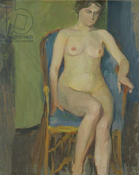 Seated Nude (oil on paper laid on canvas)