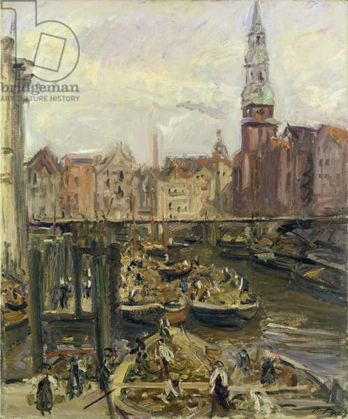 Floating Market on a canal in Hamburg, 1905 (oil on canvas)