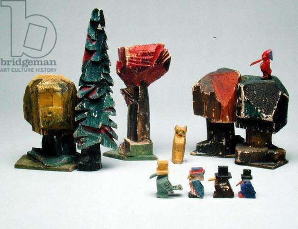 Woodland scene from the series 'The Town at the End of the World' (painted wood)