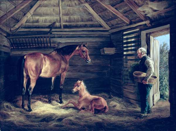 English Mare With Her Foals, 1833 (oil on canvas)