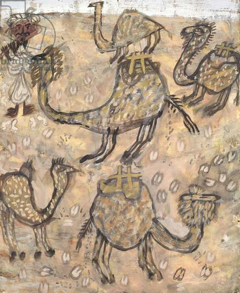 Camels, 1948 (gouache on paper)
