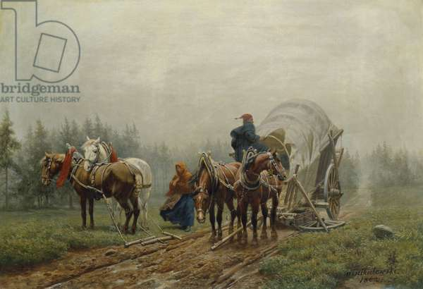 The Broken Freight Wagon, 1862 (oil on canvas)