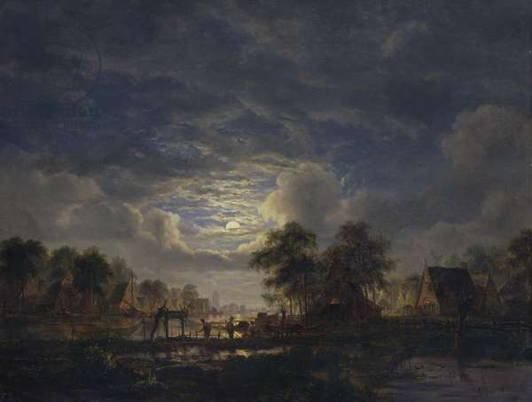 Village on a Canal, 1840 (oil on panel)
