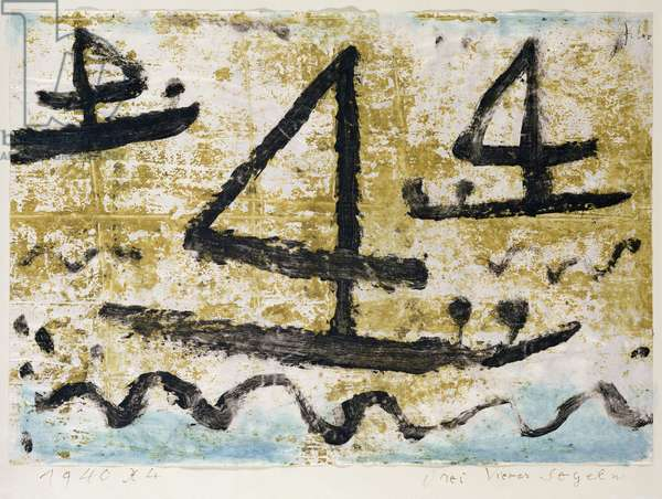 Three fours Sailing, 1940 (no 44) (wax paint and w/c on paper on cardboard)