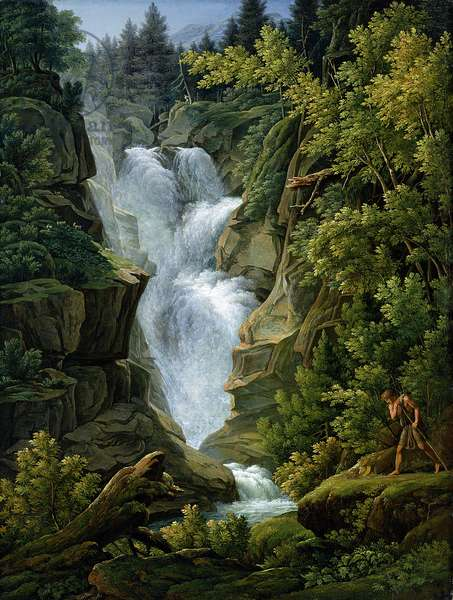 Waterfall in the Bern Highlands, 1796 (oil on canvas) (see also 191631)