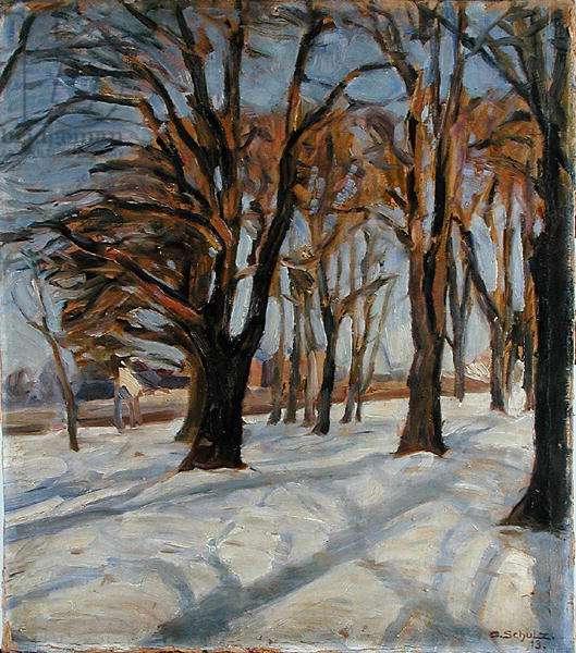 Avenue in Winter, 1913 (acrylic on paper)