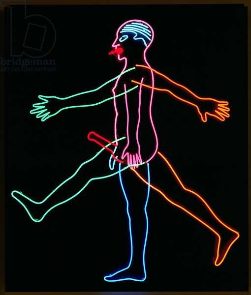 Marching Man, 1985 (neon tubes on aluminium panel)