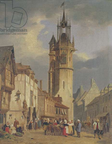 French Town Scene with a Bell Tower (oil on canvas)