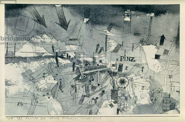 View of the severely threatened city of Pintz, 1915 (no 187) (pen and w/c on paper on cardboard)