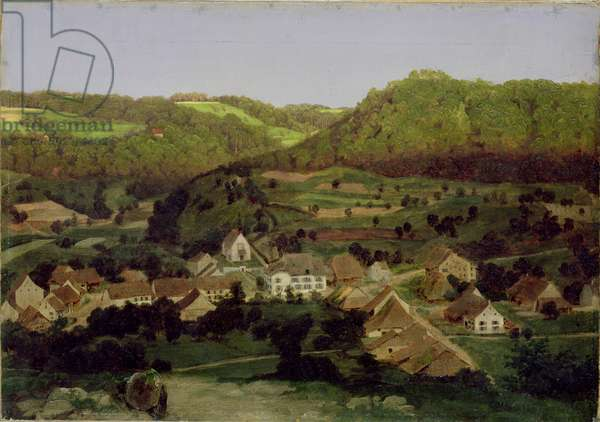 A View of the Village of Tenniken, 1846 (oil on canvas)
