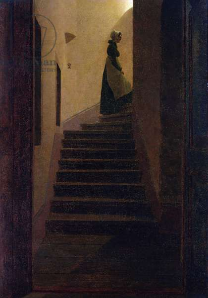 Caroline on the Stairs (oil on canvas)