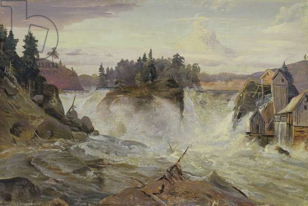 Waterfall in the Mountains, 1836 (oil on canvas)