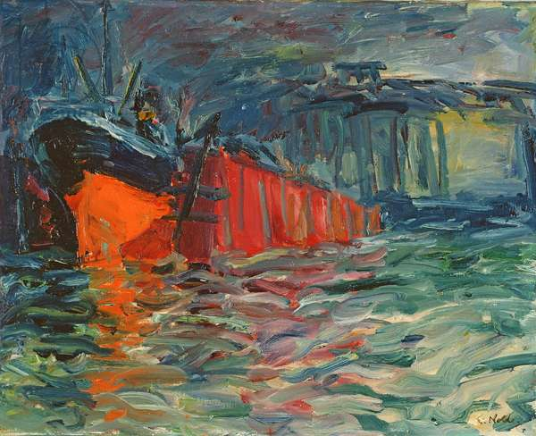 Ship in Dock, 1910 (oil on canvas)
